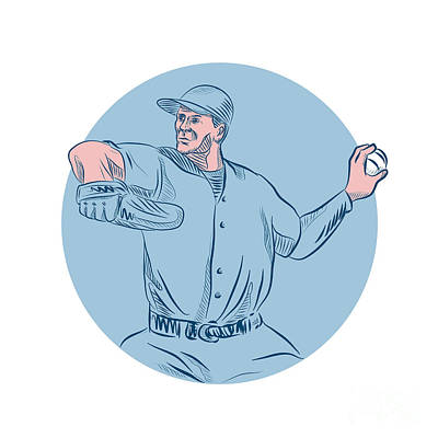 Board Game Digital Art - Baseball Pitcher Throwing Ball Circle Drawing by Aloysius Patrimonio