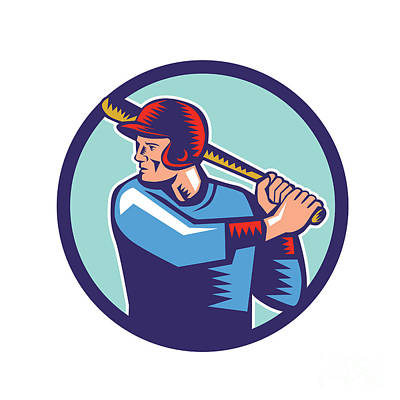 Baseball Player Batter Batting Circle Woodcut Art Print by Aloysius Patrimonio