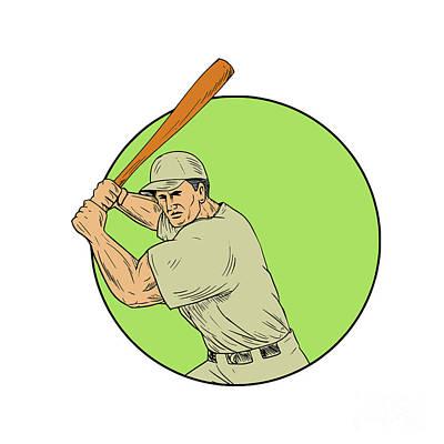 Baseball Player Batting Stance Circle Drawing Art Print