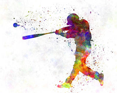 Baseball Players Painting - Baseball Player Hitting A Ball 02 by Pablo Romero