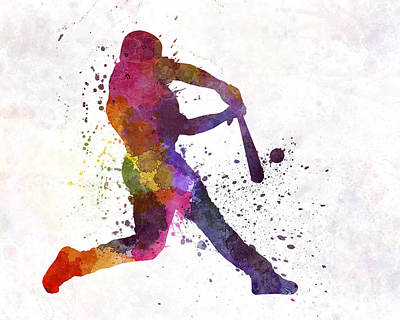 Baseball Players Painting - Baseball Player Hitting A Ball by Pablo Romero