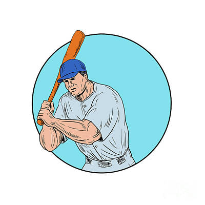 Baseball Player Holding Bat Drawing Art Print