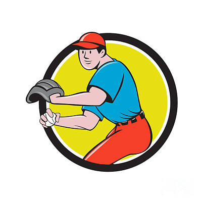 Outfielder Digital Art - Baseball Player Outfielder Throwing Ball Circle Cartoon by Aloysius Patrimonio