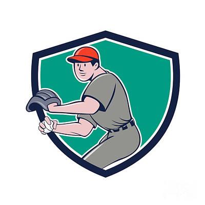 Outfielder Digital Art - Baseball Player Outfielder Throwing Ball Crest Cartoon by Aloysius Patrimonio
