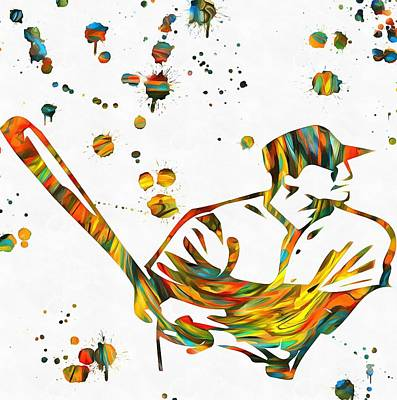 Sports Paintings - Baseball Player Paint Splatter by Dan Sproul