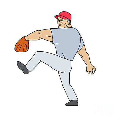 Hand Thrown Digital Art - Baseball Player Pitcher Ready To Throw Ball Cartoon by Aloysius Patrimonio