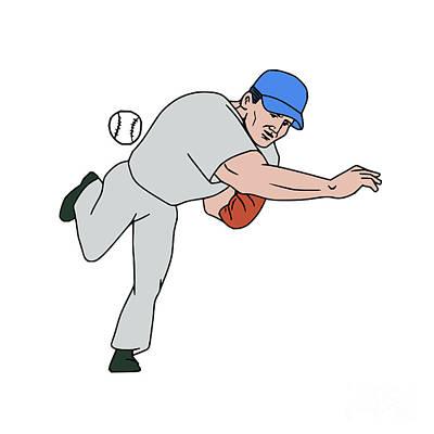 Hand Thrown Digital Art - Baseball Player Pitcher Throw Ball Cartoon by Aloysius Patrimonio