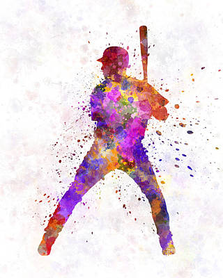Baseball Players Painting - Baseball Player Waiting For A Ball by Pablo Romero