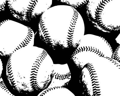 Baseball Games Digital Art - Baseball Poster Black White by Flo Karp