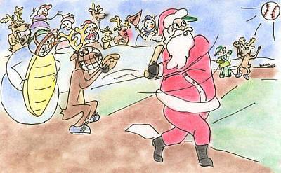 Drawing - Baseball Santa by Vonda Lawson-Rosa