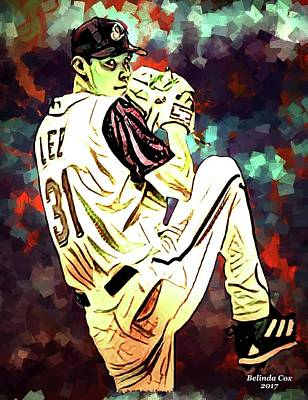 Baseball Sport Pitcher Cliff Lee Art Print by Artful Oasis