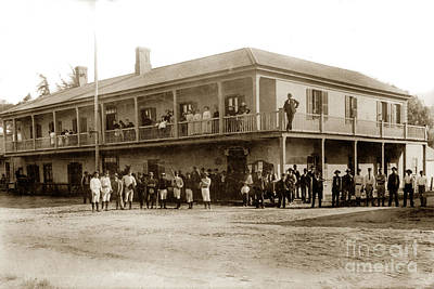 Photograph - Baseball Team In Front Of Plaza Hotel In San Juan Bautista Calif. Circa 1915 by California Views Archives Mr Pat Hathaway Archives