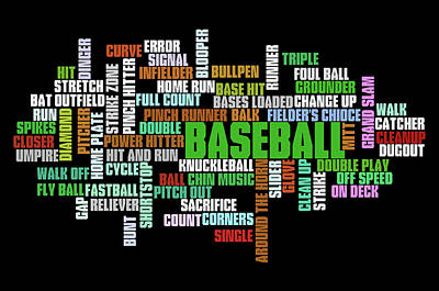 Athletes Royalty-Free and Rights-Managed Images - Baseball Terms Typography by Ricky Barnard