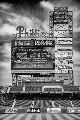 Baseball Time In Philly - Bw Art Print