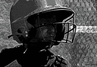 Catcher Mixed Media - Baseball Guesstamation Art2 Bw by Lesa Fine