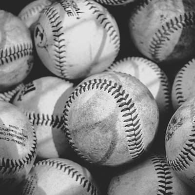 Baseballs In Black And White Art Print
