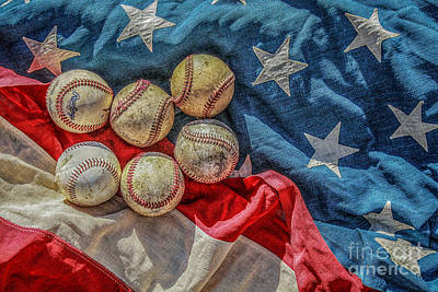 Baseball Royalty-Free and Rights-Managed Images - Baseballs on Flag Still Life by Randy Steele