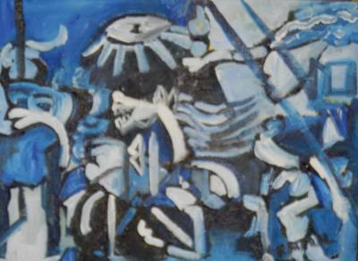 Equine Painting - based on Picasso Guernica in blue and indigo  by Miss Ratul Banerjee