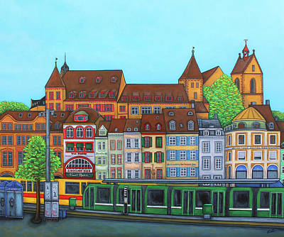 Painting - Basel, Barfusserplatz Rendez-vous by Lisa Lorenz
