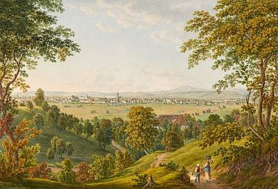 Switzerland Painting - Basel From The South by Johann Luttringhausen