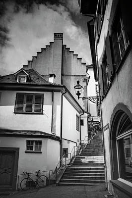 Basel Old Town In Black And White  Art Print