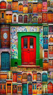 Photograph - Basel Red Door Mosaic by TK Goforth