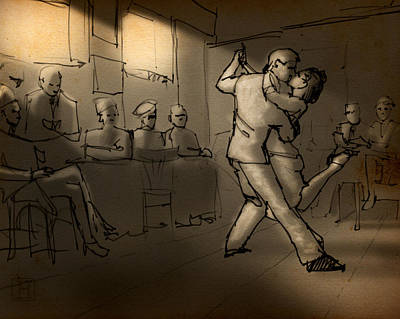 Nightlights Drawing - Basement Bar by H James Hoff