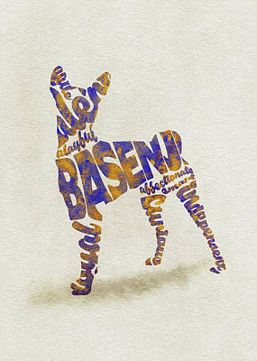 Art Print featuring the painting Basenji Dog Watercolor Painting / Typographic Art by Inspirowl Design