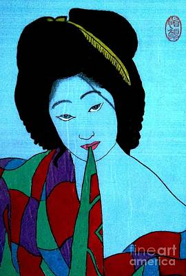 Painting - Bashful Blue Eyed Geisha by Roberto Prusso
