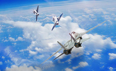 Us Navy Digital Art - Basic Fighter Maneuvers by Dorian Dogaru