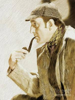 Musician Royalty-Free and Rights-Managed Images - Basil Rathbone as Sherlock Holmes by Mary Bassett