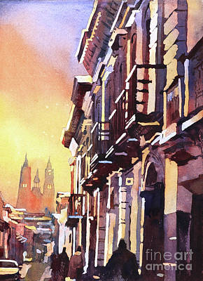 Painting - Basilica At Sunset In City Of Quito, Ecua by Ryan Fox