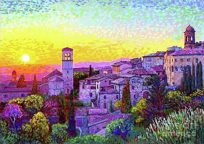 Town Painting - Basilica Of St. Francis Of Assisi by Jane Small