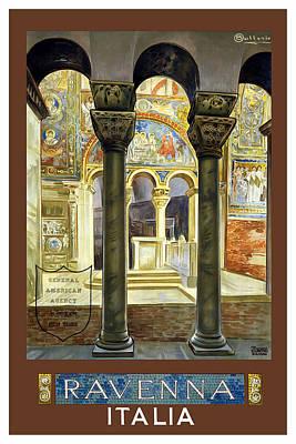Priska Wettstein Pink Hues - Basilica San Vitale in Ravenna, Italy - Vintage Travel Poster by Studio Grafiikka