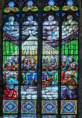 Pentecost Window Photograph - Basilica Santa Maria Del Mar, Barcelona, Spain, Pentecost Window by Curt Rush