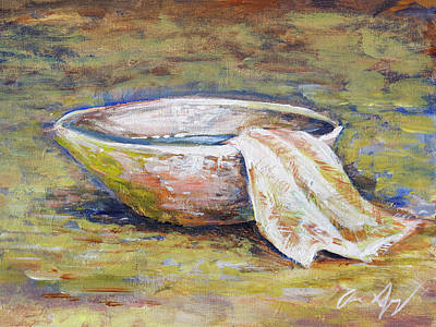 Painting - Basin And Towel by Aaron Spong