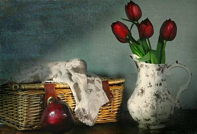 Photograph - Basket And Tulips by Diana Angstadt