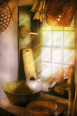 Basket Maker - In A Basket Makers House  Art Print by Mike Savad