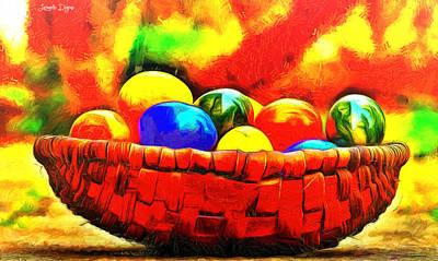 Ground Digital Art - Basket Of Eggs - Da by Leonardo Digenio
