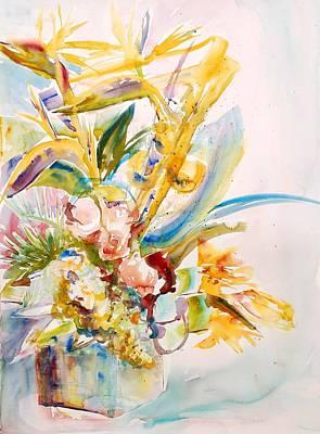 Bir Painting - Basket Of Flowers by Beena Samuel