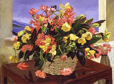 Wood Table Painting - Basket Of Flowers by David Lloyd Glover