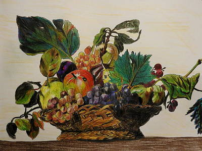 Mixed Media - Basket Of Fruit After Caravaggio by Betty-Anne McDonald