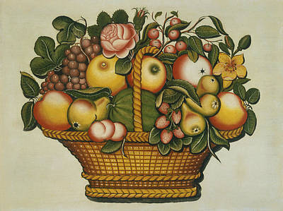 Painting - Basket Of Fruit And Flowers by American 19th Century