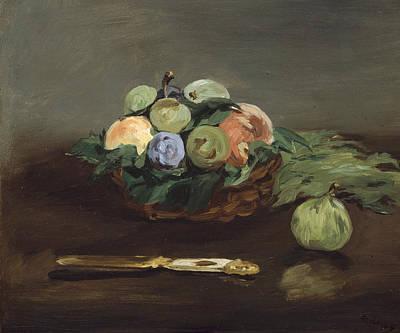Fruit Basket Painting - Basket Of Fruit by Edouard Manet