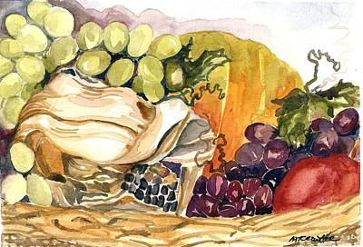 Art Print featuring the painting Basket Of Fruit by Pat Crowther