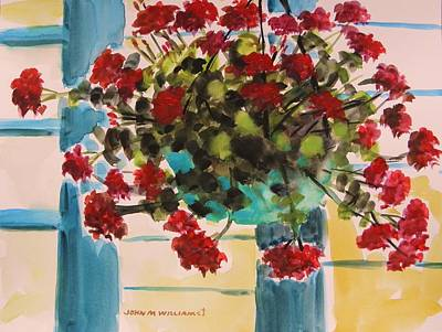 Simplicity Drawing - Basket Of Geraniums by John Williams