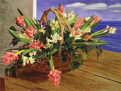 Floral Still Life Painting - Basket Of Hyacinths by David Lloyd Glover