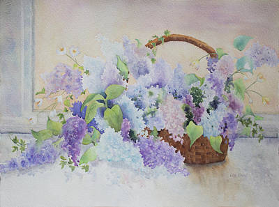 Painting - Basket Of Lilacs by Lisa Vincent