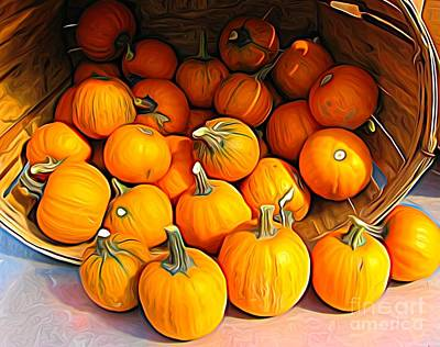 Photograph - Basket Of Little Pumpkins Expressionist Effect by Rose Santuci-Sofranko