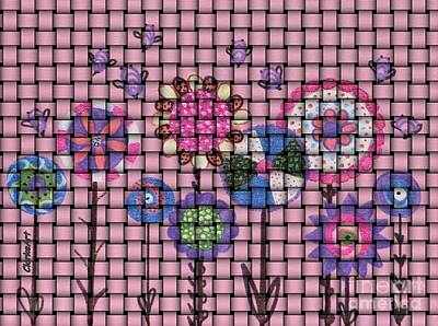 Drawing - Basket Of Lollipop Flowers And Bees by Jean Clarke